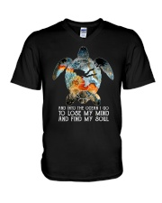 Scuba diving turtle into the ocean art V-Neck T-Shirt thumbnail
