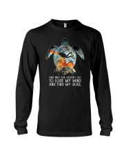 Scuba diving turtle into the ocean art Long Sleeve Tee thumbnail