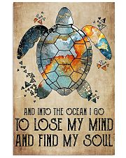Scuba diving turtle into the ocean art 11x17 Poster thumbnail