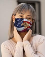Golden Retriever puppy America flag Cloth face mask aos-face-mask-lifestyle-17