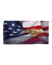 Golden Retriever puppy America flag Cloth face mask front