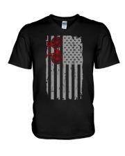 cycling usa flag V-Neck T-Shirt thumbnail