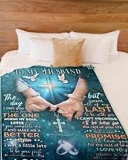 """To my husband blanket cross Large Fleece Blanket - 60"""" x 80"""" aos-coral-fleece-blanket-60x80-lifestyle-front-02"""