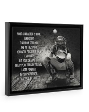baseball your character is more important Floating Framed Canvas Prints Black tile