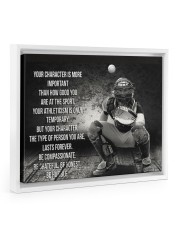 baseball your character is more important Floating Framed Canvas Prints White tile