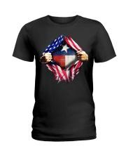 usa flag texas heart Ladies T-Shirt tile