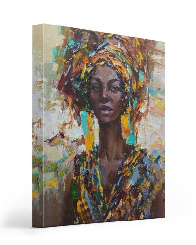 black woman portrait look canvas
