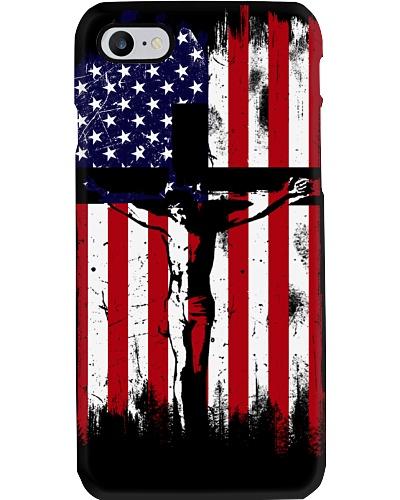 USA Flag phone case cross jesus