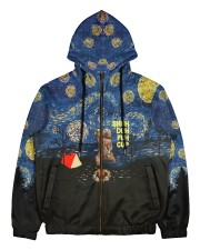 camping bear drinking beer all over printed Men's All Over Print Full Zip Hoodie thumbnail