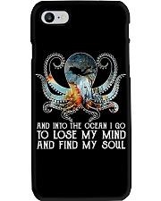 Scuba diving octopus into the ocean art Phone Case thumbnail