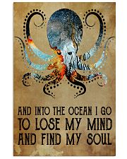 Scuba diving octopus into the ocean art 11x17 Poster thumbnail