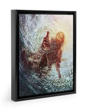 god hand Floating Framed Canvas Prints Black tile