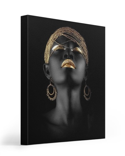 black gold portrait canvas