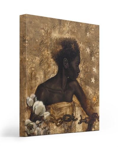 Black woman starring canvas