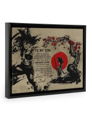 My son believe in your heart Floating Framed Canvas Prints Black tile