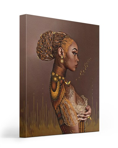 black woman and bees canvas