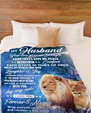 "To my husband blanket lion Large Fleece Blanket - 60"" x 80"" aos-coral-fleece-blanket-60x80-lifestyle-front-02"