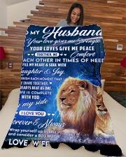 "To my husband blanket lion Large Fleece Blanket - 60"" x 80"" aos-coral-fleece-blanket-60x80-lifestyle-front-04"