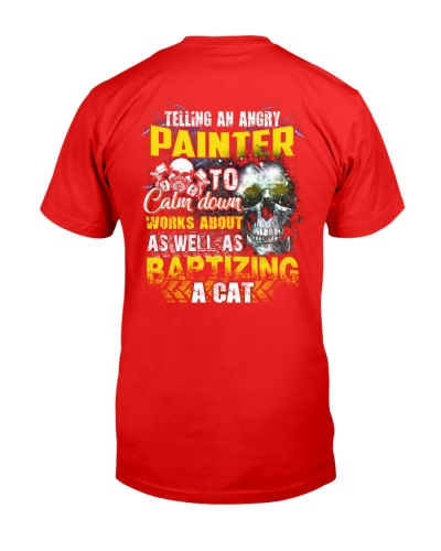 Painter telling an angry to calm down