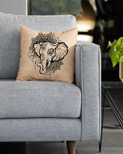 Yoga-Mandala Elephant Home Decor Square Pillowcase aos-pillow-square-front-lifestyle-05