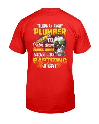 Plumber telling an angry to calm down