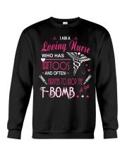 A LOVING NURSE HAPPENS TO DROP THE F-BOMB A LOT Crewneck Sweatshirt thumbnail