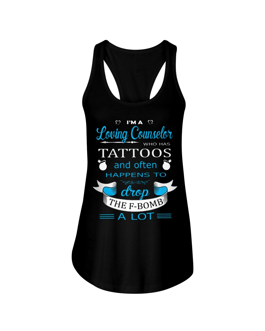 A LOVING COUNSELOR HAPPENS TO DROP THE F-BOMB Ladies Flowy Tank
