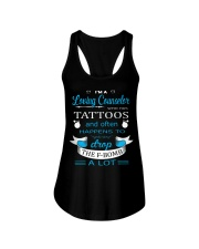 A LOVING COUNSELOR HAPPENS TO DROP THE F-BOMB Ladies Flowy Tank front