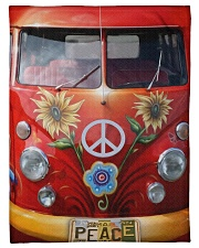Hippie Vw Bus Fleece Blanket tile
