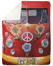 "Hippie Vw Bus Large Sherpa Fleece Blanket - 60"" x 80"" thumbnail"