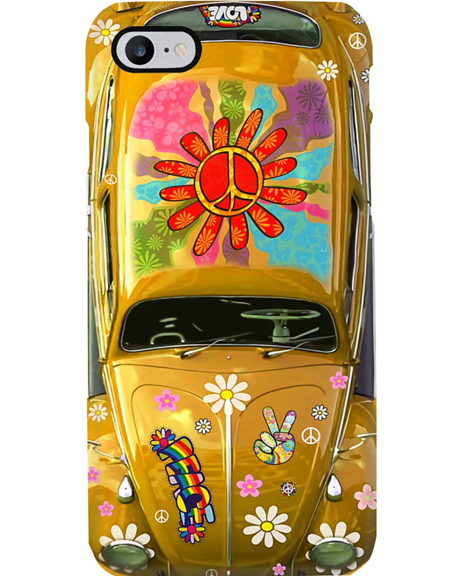 Hippie Vw Bug yellow Phone Case