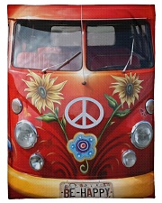 "Be Happy VW Bus Small Fleece Blanket - 30"" x 40"" thumbnail"
