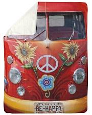 "Be Happy VW Bus Large Sherpa Fleece Blanket - 60"" x 80"" thumbnail"