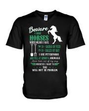 Beware I Ride Horses V-Neck T-Shirt thumbnail