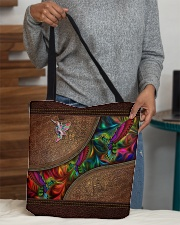 Coloful Hummingbirds Leather Pattern Print  All-over Tote aos-all-over-tote-lifestyle-front-10