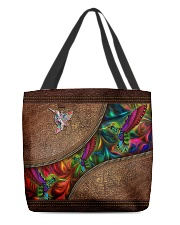 Coloful Hummingbirds Leather Pattern Print  All-over Tote back
