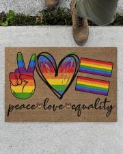 "Peace Love Pride Coir Pattern Print  Doormat 22.5"" x 15""  aos-doormat-22-5x15-lifestyle-front-01"