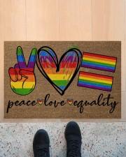 "Peace Love Pride Coir Pattern Print  Doormat 22.5"" x 15""  aos-doormat-22-5x15-lifestyle-front-10"