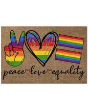 "Peace Love Pride Coir Pattern Print  Doormat 22.5"" x 15""  front"