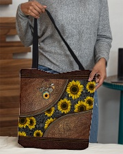 Just a girl who loves sunflower Leather pattern All-over Tote aos-all-over-tote-lifestyle-front-10