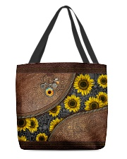 Just a girl who loves sunflower Leather pattern All-over Tote front