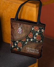 I Love My Firefighters Leather Pattern Print All-over Tote aos-all-over-tote-lifestyle-front-02