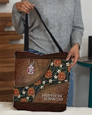 I Love My Firefighters Leather Pattern Print All-over Tote aos-all-over-tote-lifestyle-front-10