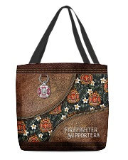 I Love My Firefighters Leather Pattern Print All-over Tote back