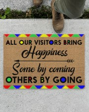 """All Our Visitors coir pattern print  Doormat 22.5"""" x 15""""  aos-doormat-22-5x15-lifestyle-front-01"""