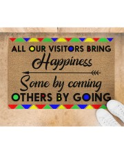 """All Our Visitors coir pattern print  Doormat 22.5"""" x 15""""  aos-doormat-22-5x15-lifestyle-front-05"""