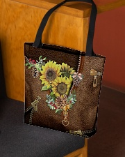 Sunflowers Leather Pattern Print All-over Tote aos-all-over-tote-lifestyle-front-02
