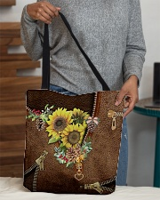 Sunflowers Leather Pattern Print All-over Tote aos-all-over-tote-lifestyle-front-10