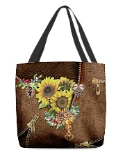 Sunflowers Leather Pattern Print All-over Tote back