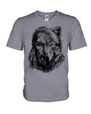 Viking Shirts - Warrior Wolf Valknut V-Neck T-Shirt thumbnail